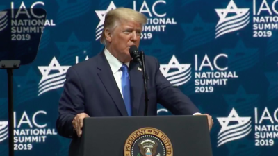U.S. President Donald Trump addresses the Israeli-American Council Summit in Florida on Dec. 7, 2019. Source: Screenshot.