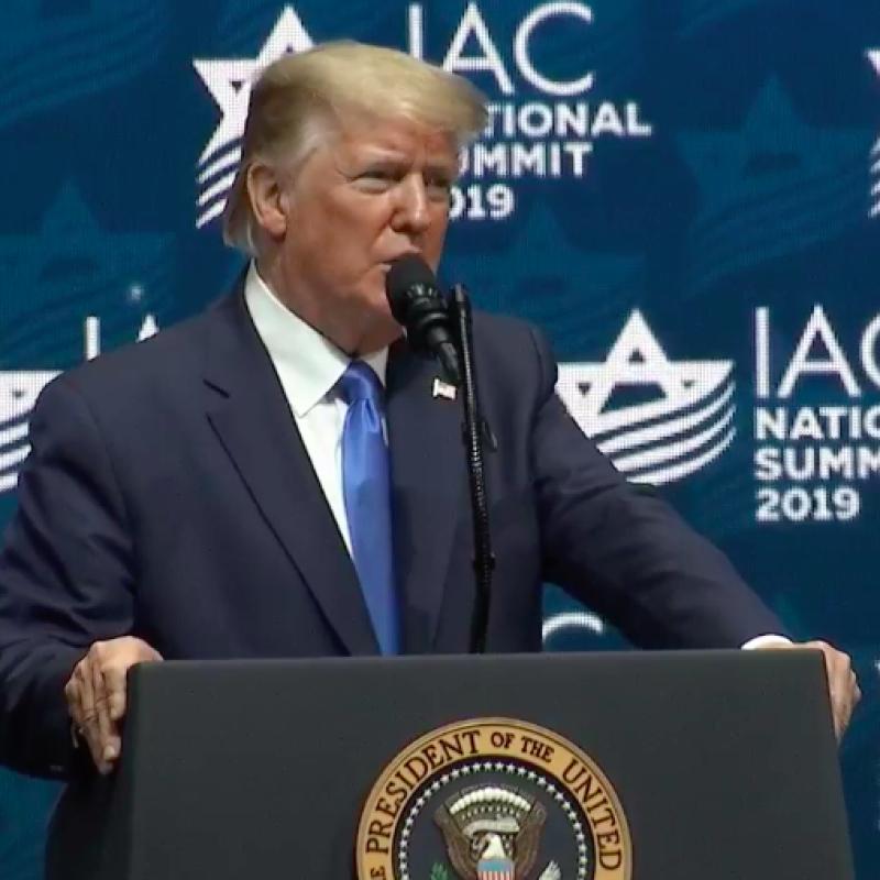 U.S. President Donald Trump addresses the Israeli-American Council Summit in Southeast Florida on Dec. 7, 2019. Source: Screenshot.