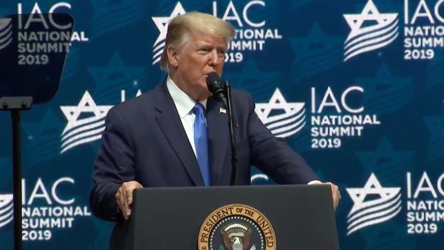 U.S. President Donald Trump addresses the Israeli American Council Summit in Southeast Florida on Dec. 7, 2019. Source: Screenshot.