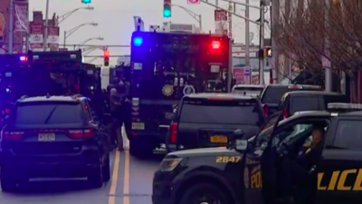 The scene near a kosher market in Jersey City, N.J., after a shooting on Dec. 10, 2019. Source: Screenshot.