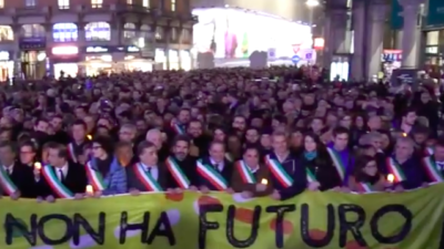 Thousands of people, including hundreds of mayors, escorted Holocaust survivor Liliana Segre, 89, through the center of Milan on Dec. 11, 2019, after she had received hundreds of anti-Semitic threats. Source: Screenshot.
