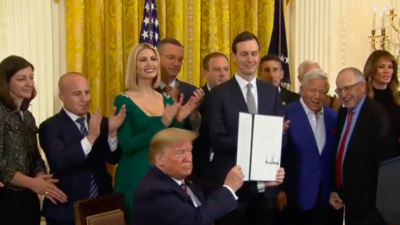 """U.S. President Donald Trump signs an executive order on Dec. 11, 2019, requiring the U.S. government to adopt the International Holocaust Remembrance Alliance definition of anti-Semitism in responding to """"prohibited forms of discrimination rooted in anti-Semitism as vigorously as against all other forms of discrimination prohibited by Title VI"""" of the 1964 Civil Rights Act. Source: Screenshot."""