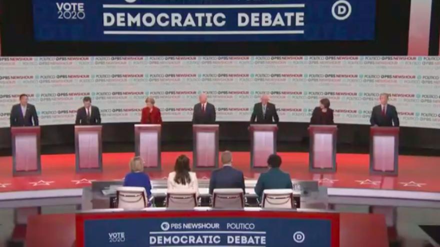 The sixth Democratic presidential primary debate at Loyola Marymount University in Los Angeles on Dec. 19, 2019. Source: Screenshot.