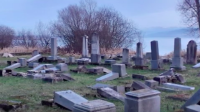 Tombstones at the Jewish cemetery in Namestovo, Slovakia, were vandalized. Source: YouTube Screenshot.