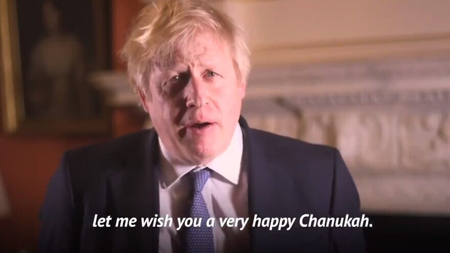 British Prime Minister Boris Johnson delivering his 2019 Hannukkah message. Source: Screenshot.