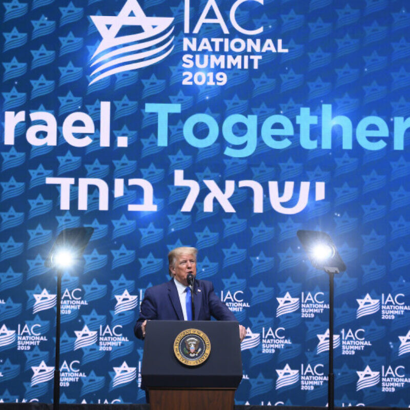 U.S. President Donald Trump speaks at the Israeli American Council's 2019 summit in Hollywood, Florida, on Dec. 7, 2019. Credit: Israel America Council.