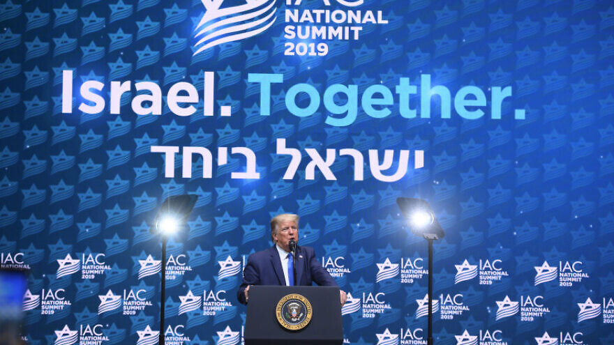U.S. President Donald Trump speaks at the Israeli American Council's 2019 summit in Hollywood, Florida, on Dec. 7, 2019. Credit: Israel-America Council.