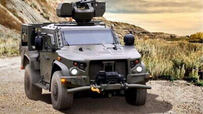 A Remote Control Weapon Station integrated into a light armored vehicle. Credit: Elbit Systems.