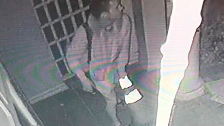 Surveillance footage of Anton Redding, 24, suspected of vandalizing the Nessah Synagogue in Beverly Hills on Dec. 14, 2019. Credit: Beverly Hills Police Department.