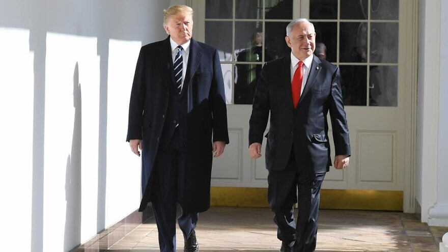 U.S. President Donald Trump with Israeli Prime Minister Benjamin Netanyahu on the White House south portico on Jan. 27, 2020. Photo by Koby Gideon/GPO.