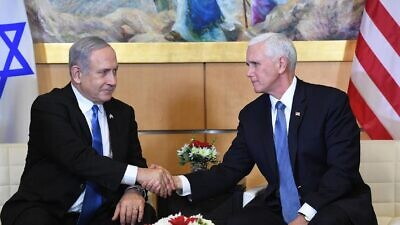 Israeli Prime Minister Benjamin Netanyahu with U.S. Vice President Mike Pence in Jerusalem on Jan. 23, 2020. Credit: Kobi Gideon/GPO.