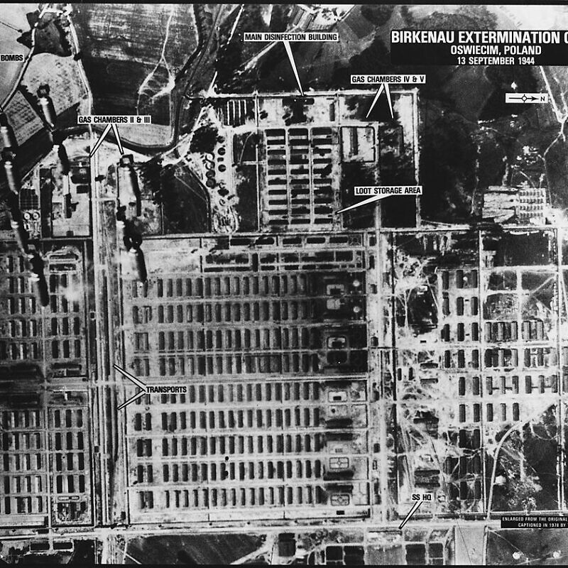 One of a series of aerial reconnaissance photos of the Auschwitz concentration camp taken between April 4, 1944 and Jan. 14, 1945, but not examined until the 1970s. Credit: Wikimedia Commons.