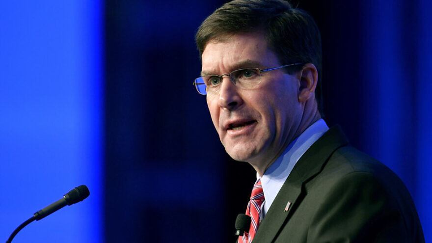 U.S. Secretary of Defense Mark Esper delivers a speech during the Air Force Association Air, Space and Cyber Conference in National Harbor, Md., Sept. 18, 2019. Credit: Wayne Clark/U.S. Air Force.