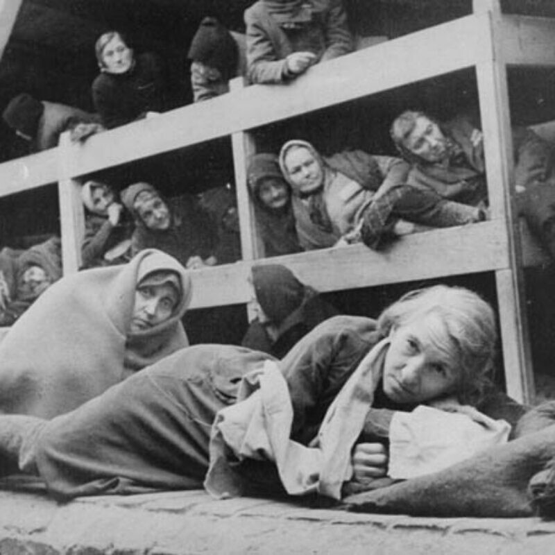 Women in the barracks of the newly liberated Auschwitz concentration camp. Credit: United States Holocaust Memorial Museum, courtesy of National Archives and Records Administration, College Park, Md.