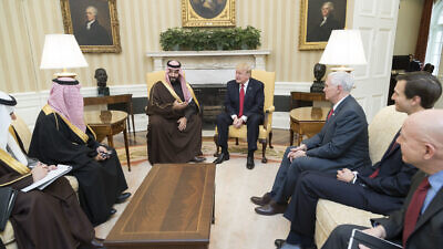 U.S. President Donald Trump meets with Mohammed bin Salman, Deputy Crown Prince of Saudi Arabia, and members of his delegation, Tuesday, March 14, 2017, in the Oval Office of the White House in Washington, D.C. Photo by Shealah Craighead/White House.