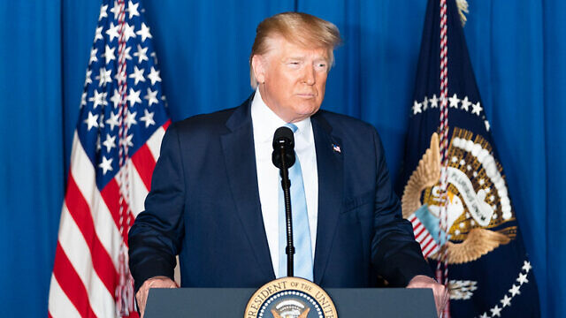 U.S. President Donald J. Trump delivers remarks on the death of Iranian Islamic Revolutionary Guard Corps commander Qassem Soleimani at Mar-a-Lago on Friday, Jan. 3, 2010, in Palm Beach, Florida. Official White House Photo by Shealah Craighead.