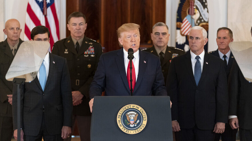 U.S. President Donald J. Trump, joined by Vice President Mike Pence, senior White House advisors and senior military personnel, delivers remarks during a national televised address Wednesday, Jan. 8, 2020, from the Cross Hall of the White House, responding to the retaliatory missile strikes against U.S. military and coalition forces in Iraq on Tuesday by the Islamic Republic of Iran. Photo by Shealah Craighead/White House.