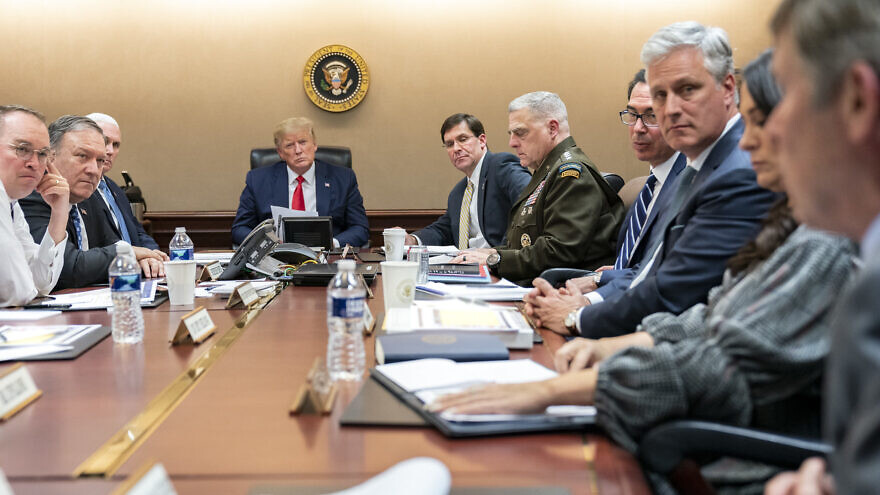 U.S. President Donald Trump, joined by Vice President Mike Pence, meets with senior White House advisers in the Situation Room of the White House about the Iran missile attacks on U.S. military facilities in Iraq, Jan. 7, 2020. Photo by Shealah Craighead/White House.