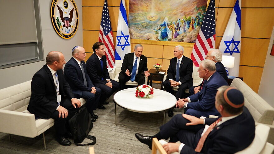 U.S. Vice President Mike Pence meets with Israel Prime Minister Benjamin Netanyahu and other officials at the U.S. embassy in Jerusalem, Israel. Official White House on Jan. 23, 2020. Photo by Myles Cullen.