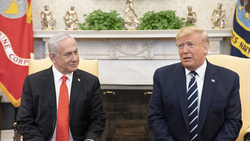 U.S. President Donald Trump and Israeli Prime Minister Benjamin Netanyahu speak with reporters o Jan. 27, 2020, in the Oval Office of the White House. Official White House Photo by Shealah Craighead.