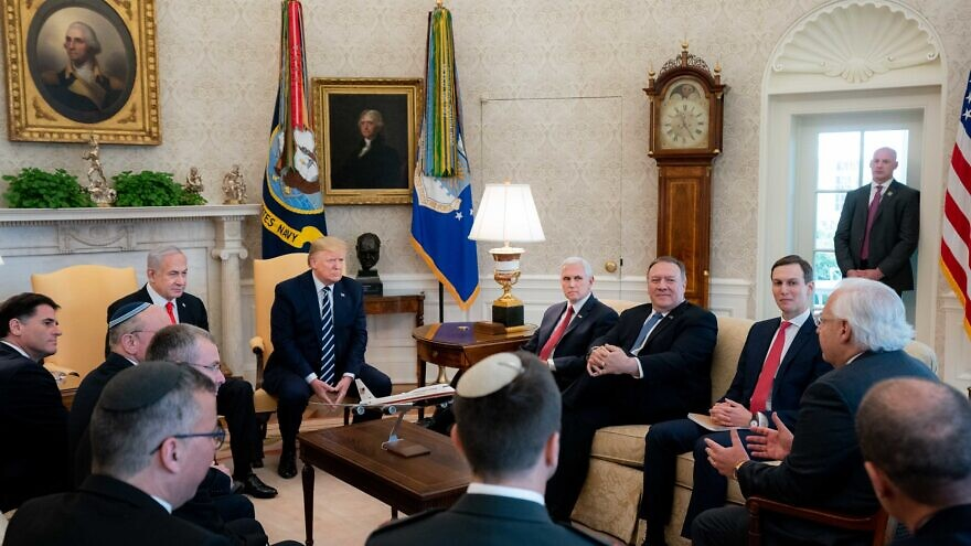 U.S. President Donald Trump and Vice President Mike Pence participate in an expanded bilateral meeting with Israeli Prime Minister Benjamin Netanyahu in the Oval Office of the White House, Jan. 27, 2020. Photo by D. Myles Cullen/White House.