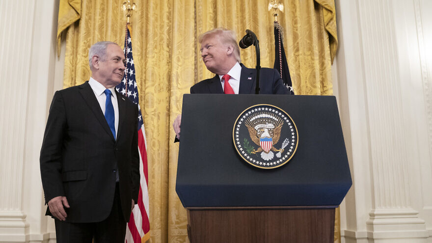 U.S. President Donald Trump delivers remarks with Israeli Prime Minister Benjamin Netanyahu in the East Room of the White House to unveil details of the Trump administration's Middle East peace plan on Jan. 28, 2020. White House Photo by Shealah Craighead.