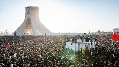 The funeral of Iran's Islamic Revolutionary Guard Corps Quds' Force commander Qassem Soleimani, in Tehran on Jan. 6, 2020. Photo: Maryam Kamyab, Mohammad Mohsenifar via Wikimedia Commons.