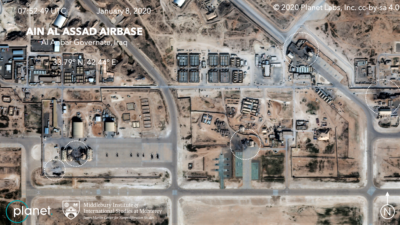 Satellite image showing damage to at least five structures at Ain al-Assad air base in Iraq in a series of precision missile strikes launched by Iran, Jan. 8, 2020. Credit: Planet Labs Inc./Middlebury Institute of International Studies at Monterey via Wikimedia Commons.