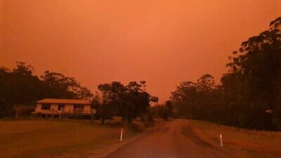 As Shabbat approached, the smoke-filled and bright-orange sky can be seen over Coffs Harbour, a small coastal city in New South Wales, Australia. Photo by Verne Dove.