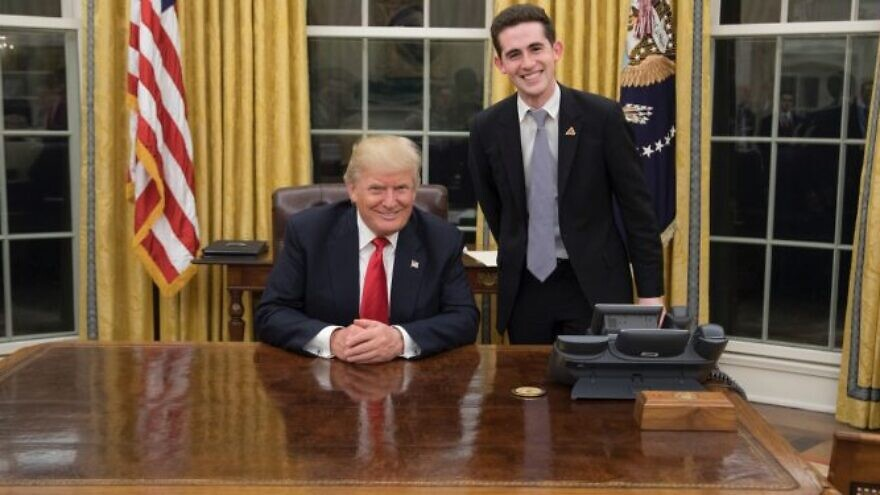 U.S. President Donald Trump and U.S. Special Representative for the Middle East Avi Berkowitz in the White House, January 2020. Credit: Courtesy.