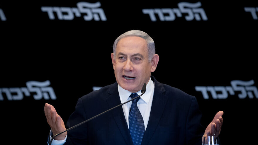 Israeli Prime Minister Benjamin Netanyahu gives a press conference at the Orient Hotel in Jerusalem on Jan. 1, 2020. Photo by Yonatan Sindel/Flash90.