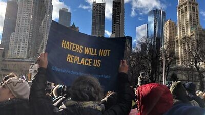 "Participants at the ""No Hate. No Fear."" rally in New York City on Jan. 5, 2020. Photo by Rivka Segal."
