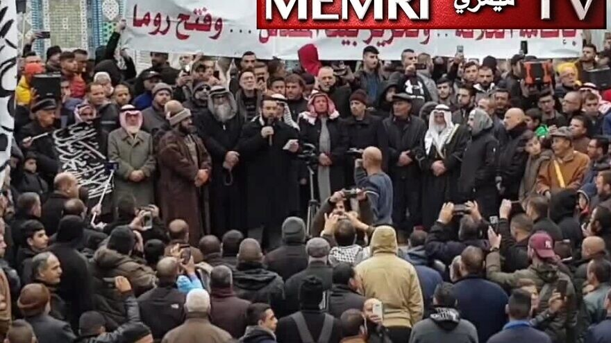 Palestinian preacher Nidhal Siam gives a speech at Al-Aqsa Mosque in Jerusalem on Jan. 17, 2020. (MEMRI)
