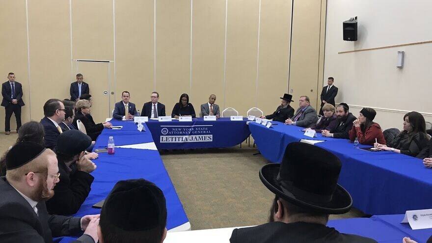 New York State Attorney General Letitia James with Jewish leaders, including Evan Bernstein, New York regional director of the Anti-Defamation League, to discuss hate and how to protect the community. Source: Evan Bernstein via Twitter.