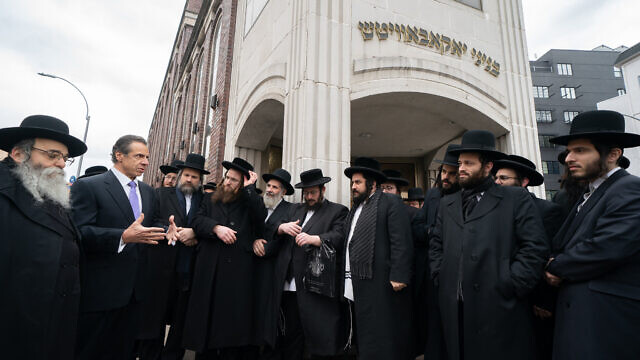 New York Gov. Andrew Cuomo, a Democrat, meets with Jewish leaders in the Brooklyn neighborhood of Williamsburgh amid a spike in anti-Semitic attacks. Source: Twitter.