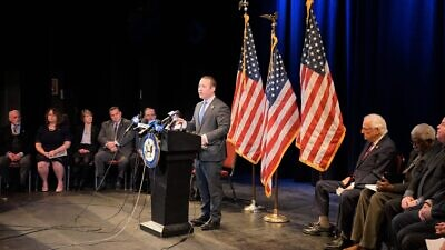 U.S. Rep. Josh Gottheimer (D-N.J.). speaking at an event addressing anti-Semitism on Jan. 7, 2020. Source: Rep. Josh Gottheimer via Twitter.
