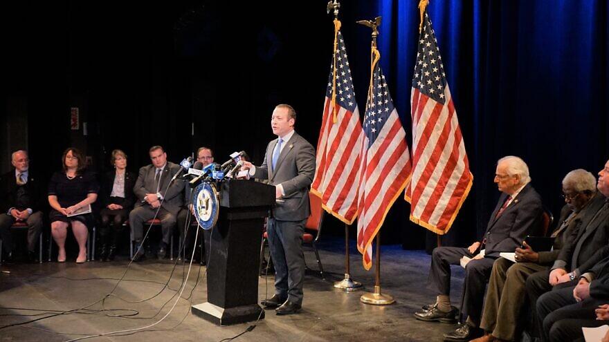 U.S. Rep. Josh Gottheimer (D-N.J.). speaks at an event addressing anti-Semitism on Jan. 7, 2020. Source: Rep. Josh Gottheimer via Twitter.