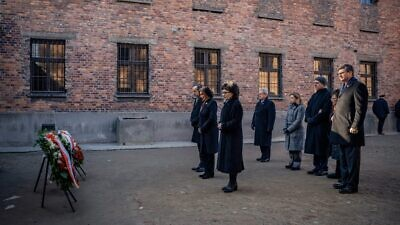 A bipartisan congressional delegation, led by House Speaker Nancy Pelosi (D-Calif.), pays its respects at the Auschwitz. Credit: Nancy Pelosi/Twitter.