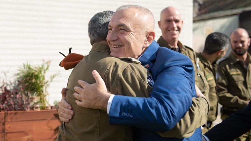 President of Albania Ilir Meta thanked soldiers from the Israel Defense Forces for their help following November's deadly earthquake in his nation, Jan. 23, 2020. Source: Albanian President Ilir Meta via Twitter.