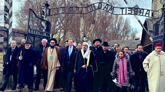 Sheikh Mohammed al-Issa, secretary-general of the Muslim World League, along with the American Jewish Committee, visit Auschwitz. Source: American Jewish Committee via Twitter.
