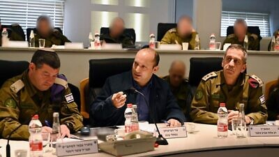 Israeli Defense Minister Naftali Bennett meets with commanders of the Israel Defense Forces, including IDF Chief of Staff Lt. Gen. Aviv Kochavi, after completing a tour of the West Bank to assess the security situation ahead of the reveal of U.S. President Donald Trump's Mideast peace plan. Credit: Naftali Bennett via Twitter.