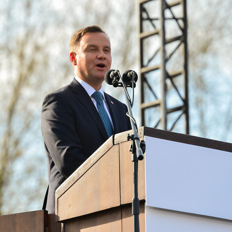"Polish president Andrzej Duda speaks during a ceremony in the March of the Living at the Auschwitz-Birkenau camp site in Poland, as Israel marks annual Holocaust Memorial Day, on April 12, 2018. ""Photo by Yossi Zeliger/Flash90"