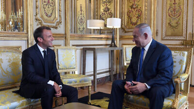 Israeli Prime Minister Benjamin Netanyahu meets with French President Emmanuel Macron at the Élysée Palace in Paris, France, on June 5, 2018. Photos by Haim Zach/GPO.