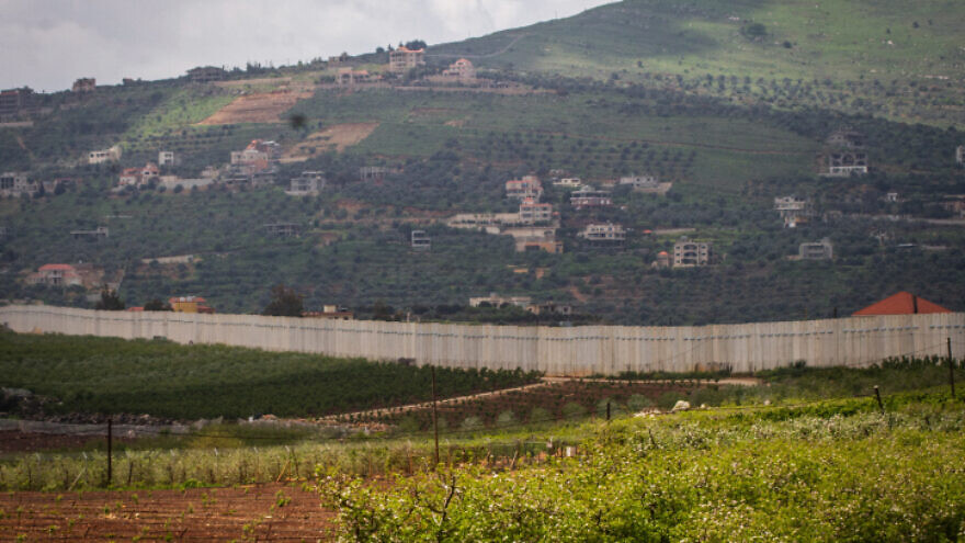 A view of the border fence between Israel and Lebanon as seen from the Northern Israeli town of Metula, on April 20, 2019. Photo by Flash90.