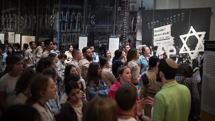 Visitors seen at the Yad Vashem Holocaust Memorial Museum in Jerusalem on April 28, 2019, ahead of Israeli National Holocaust Remembrance Day. Photo by Hadas Parush/Flash90.