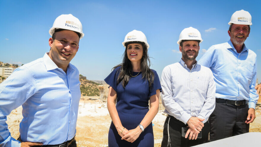 Yemina political alliance members Ayelet Shaked, Rafi Peretz, Naftali Bennett and Betzalel Smotrich seen during the launch of a housing project in Elkana, Israel, on Aug. 21, 2019. Photo by Ben Dori/Flash90.