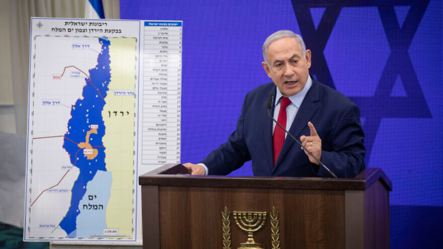 Israeli Prime Minister Benjamin Netanyahu delivers a statement to the press regarding the extension of Israeli sovereignty to the Jordan Valley, in Ramat Gan, on Sept. 10, 2019. Photo by Hadas Parush/Flash90.