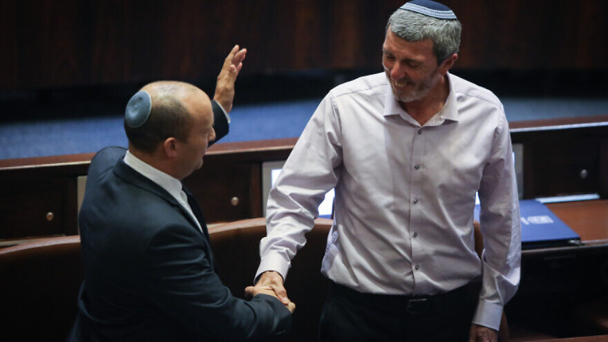 Yamina Party members Naftali Bennett and Rafi Peretz during a special memorial session for Rehavam Ze'evi at the Knesset, in Jerusalem, on Oct. 29, 2019. Photo by Flash90.