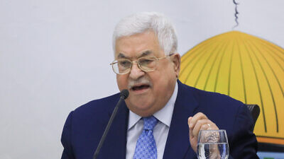 Palestinian Authority leader Mahmoud Abbas makes a statement as he attends the Revolutionary Council Meeting of Fatah Movement at the Palestinian Presidential Office in Ramallah on Dec. 18, 2019. Photo by Flash90.