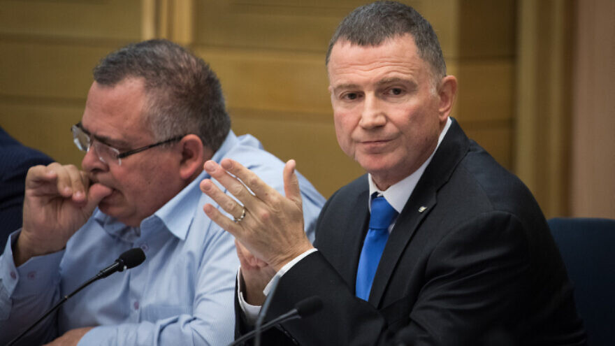 Israeli Knesset Speaker Yuli Edelstein (right) attends the first election committee meeting at the Knesset in Jerusalem, on Dec. 18, 2019. Photo by Hadas Parush/Flash90.